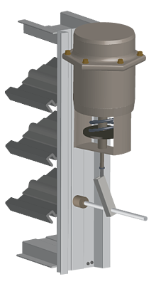 Pneumatic actuators use pressurized air to open and close adjustable blades.