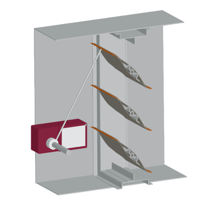 An illustration of position indication switch with a blade position rod
