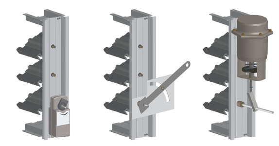 Actuators rotate adjustable blades to open or close the damper.