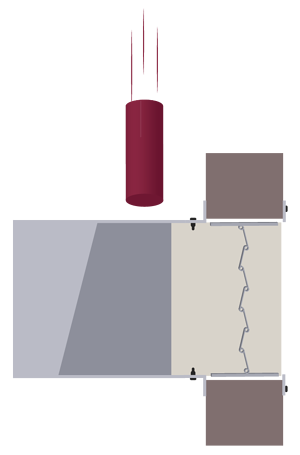 This is the duct impact test. A fire damper must remain in the fire barrier, even if connected ductwork fails.