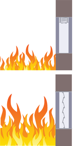 Fire dampers are mounted in a test oven and subjected to intense heat.