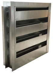 Acoustical louvers can dampen loud noises as air passes across the perforations of their insulated blades.