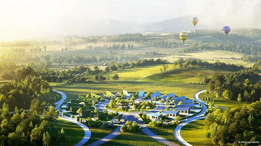 Aerial View of the Sunflower Village. Render by Denis Guchev.
