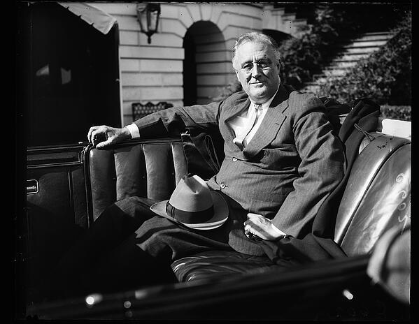 President FDR in an automobile